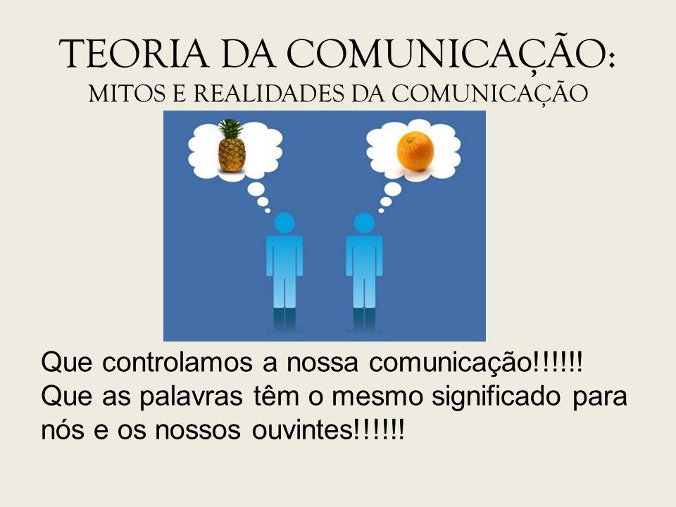 TEORIA DA COMUNICAÇÃO: Mitos e Realidades da Comunicação