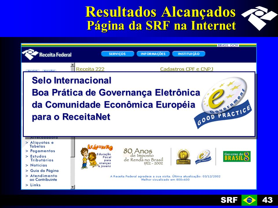 Resultados Alcançados Página da SRF na Internet