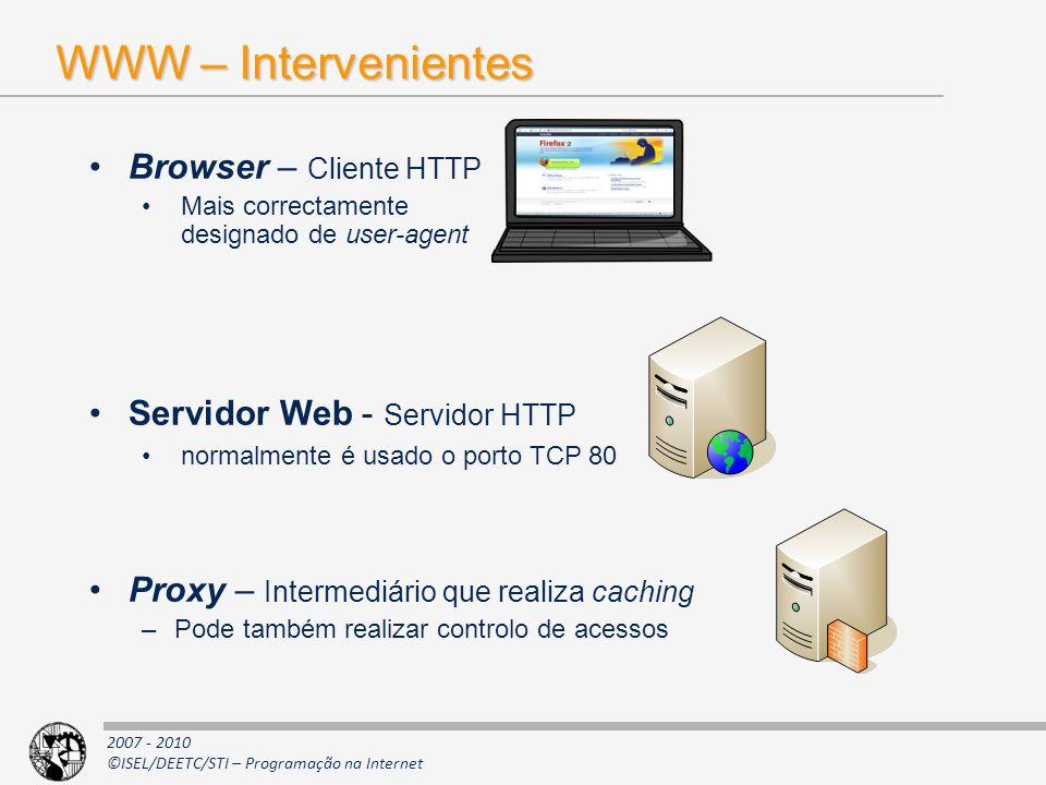 WWW – Intervenientes Browser – Cliente HTTP