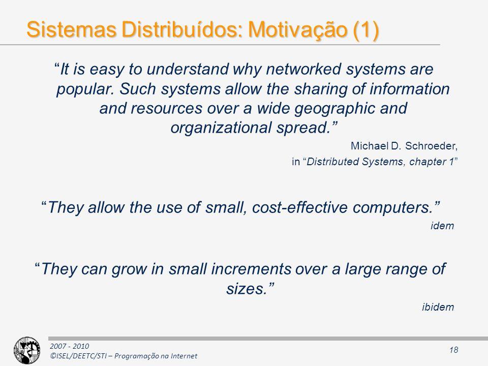 Sistemas Distribuídos: Motivação (1)