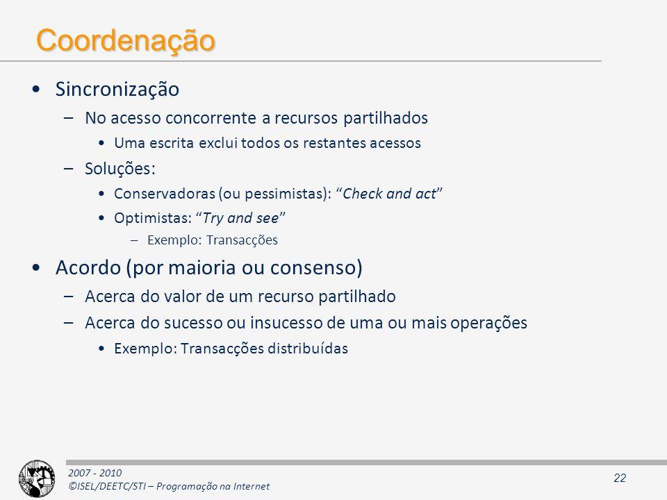 Coordenação Sincronização Acordo (por maioria ou consenso)