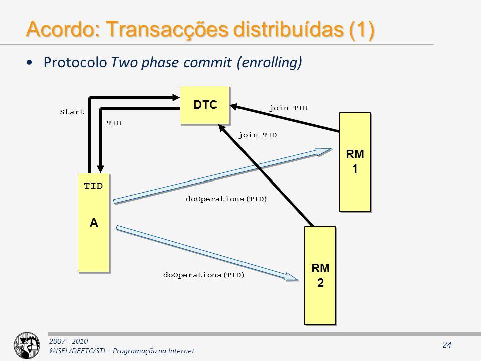 Acordo: Transacções distribuídas (1)
