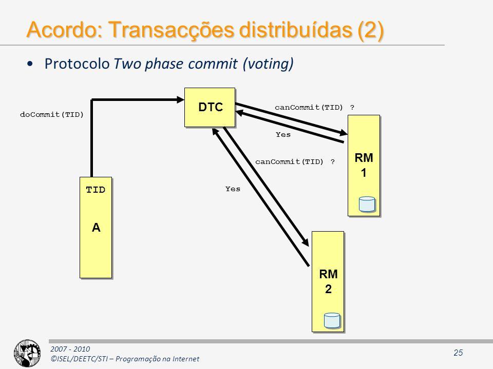 Acordo: Transacções distribuídas (2)