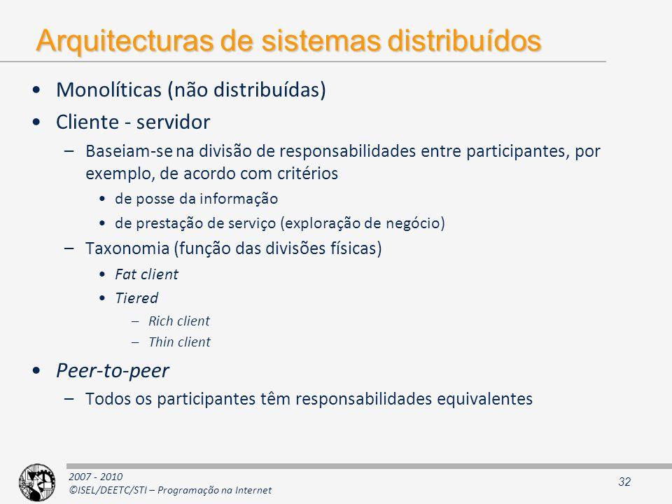 Arquitecturas de sistemas distribuídos
