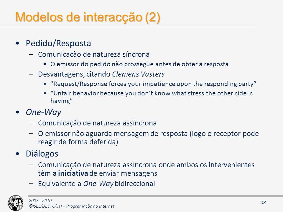 Modelos de interacção (2)