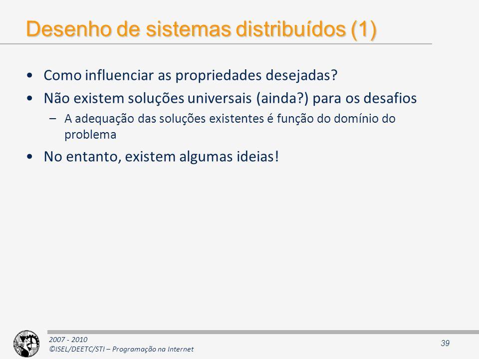 Desenho de sistemas distribuídos (1)