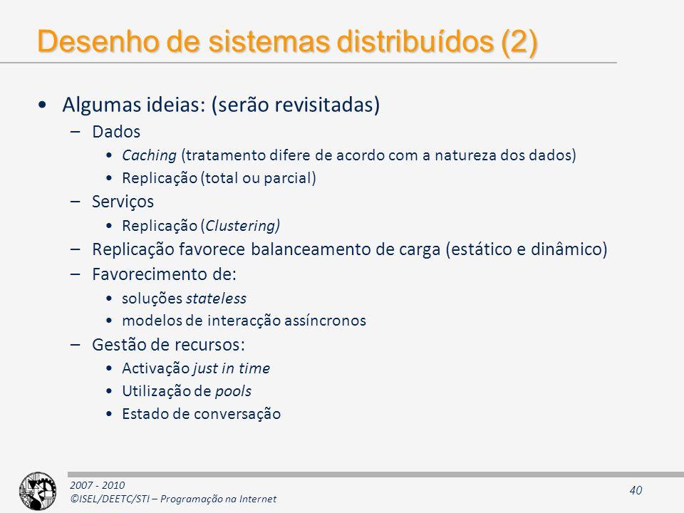 Desenho de sistemas distribuídos (2)