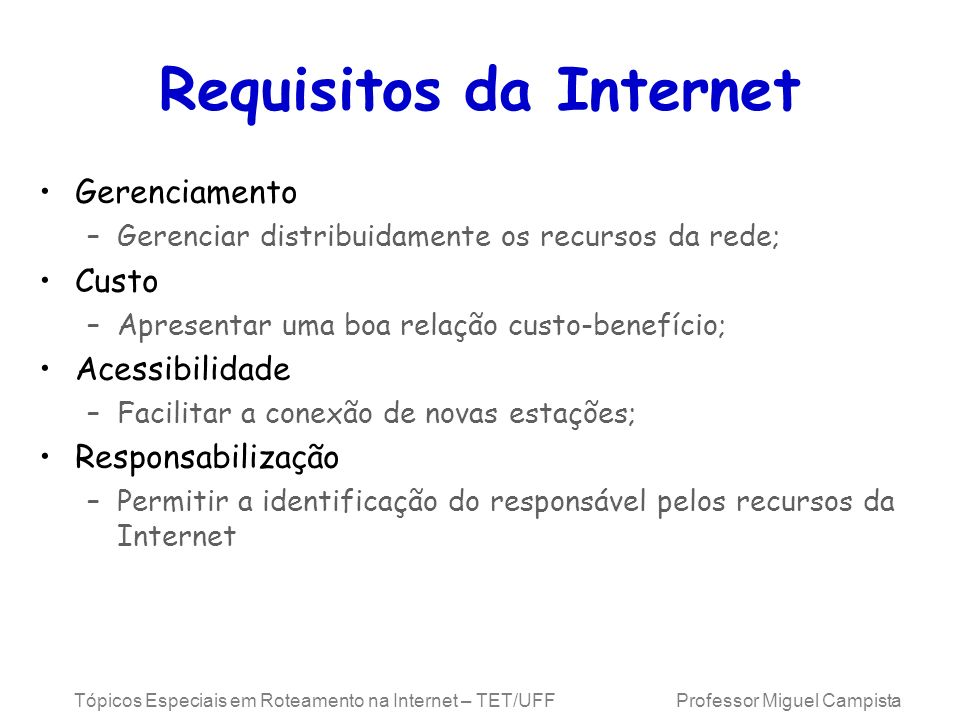 Requisitos da Internet
