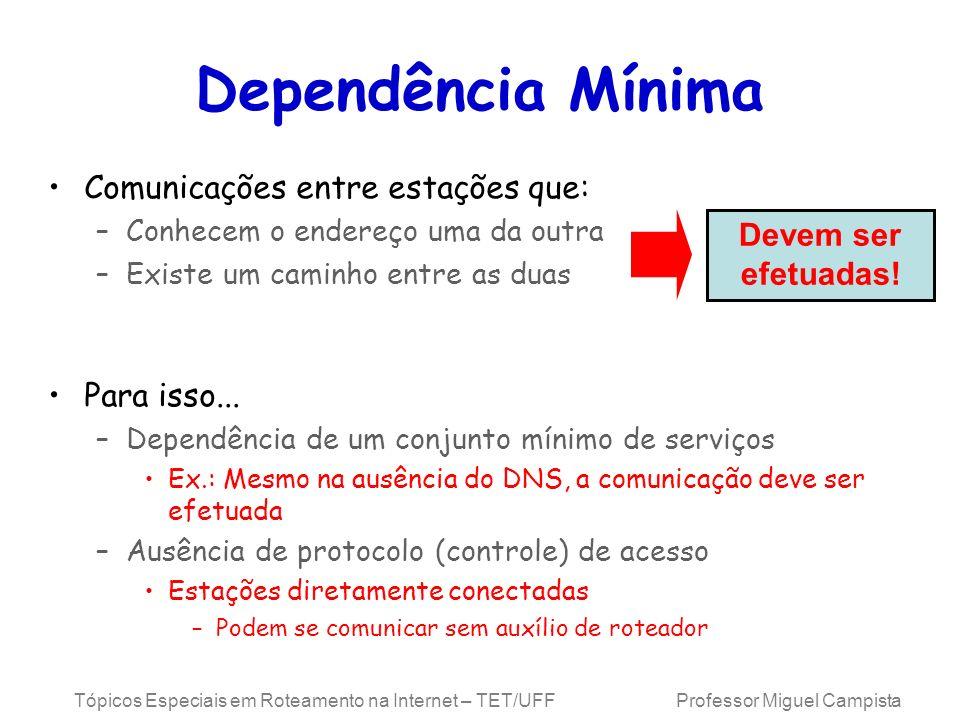 Dependência Mínima Comunicações entre estações que: