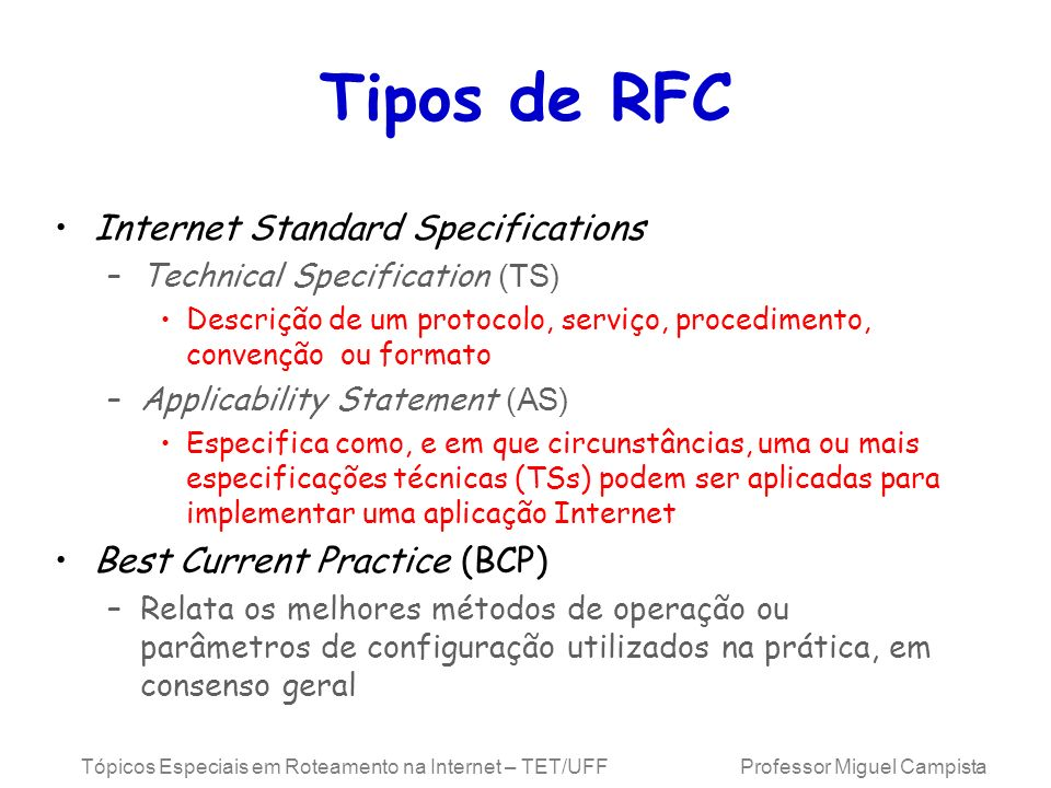 Tipos de RFC Internet Standard Specifications