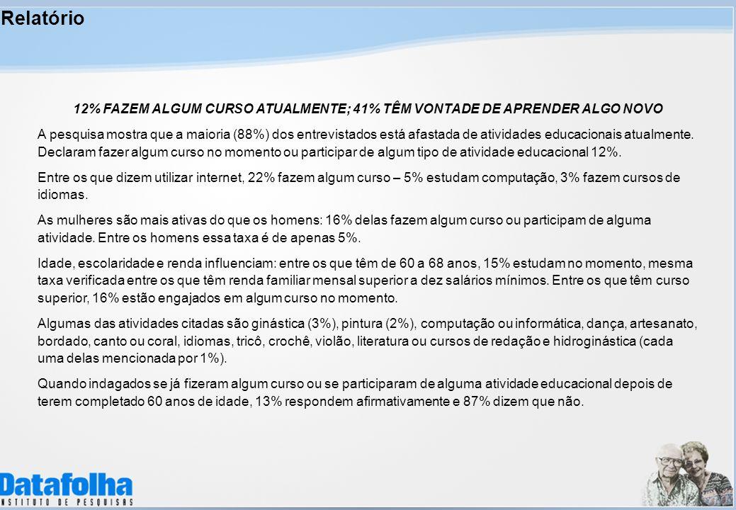 Relatório 12% FAZEM ALGUM CURSO ATUALMENTE; 41% TÊM VONTADE DE APRENDER ALGO NOVO.