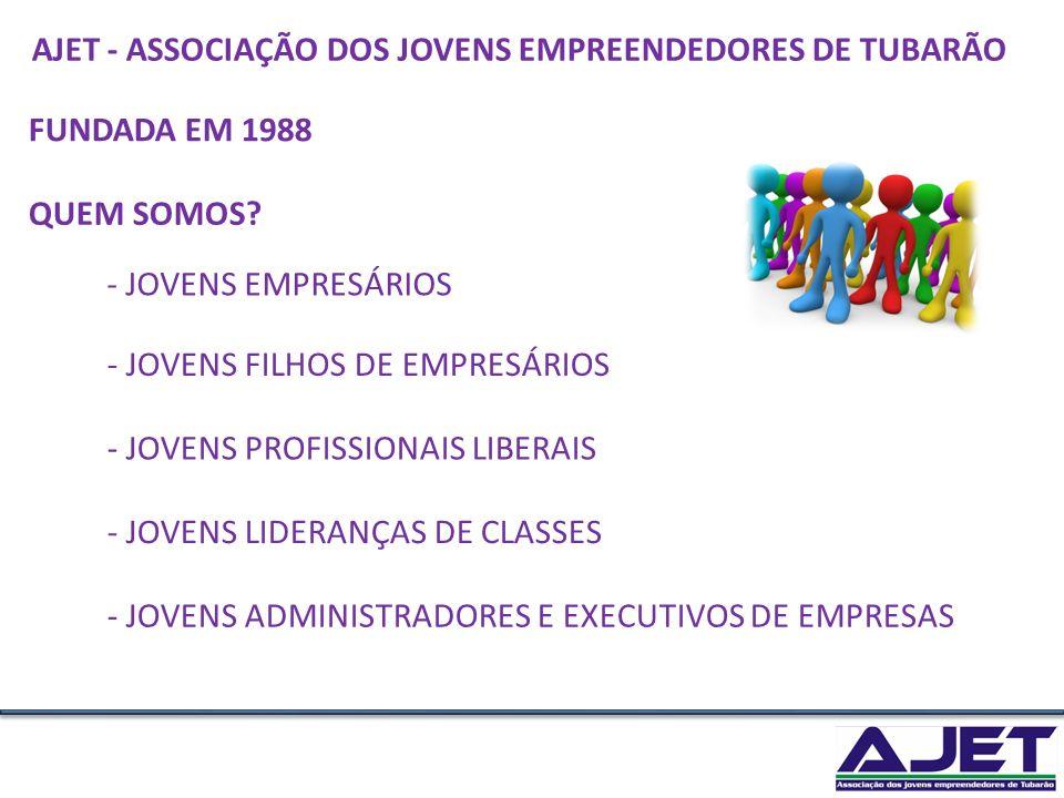 AJET - ASSOCIAÇÃO DOS JOVENS EMPREENDEDORES DE TUBARÃO. FUNDADA EM 1988. QUEM SOMOS - JOVENS EMPRESÁRIOS.