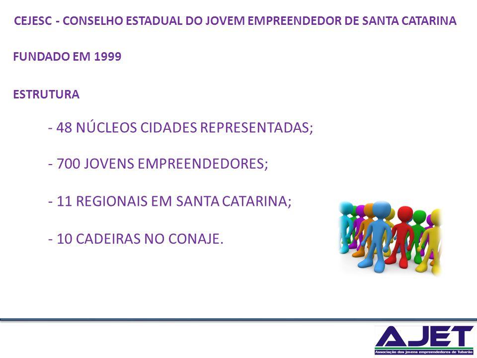 - 48 NÚCLEOS CIDADES REPRESENTADAS;