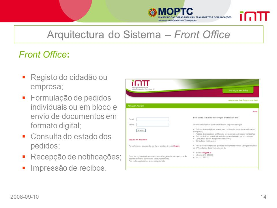 Arquitectura do Sistema – Front Office