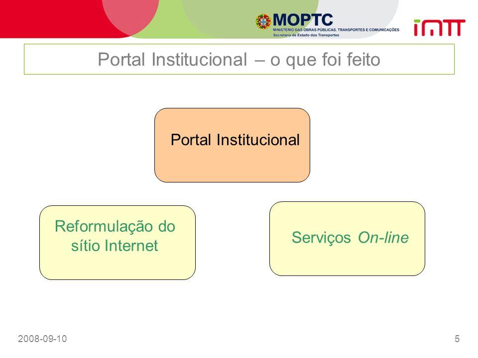 Portal Institucional – o que foi feito