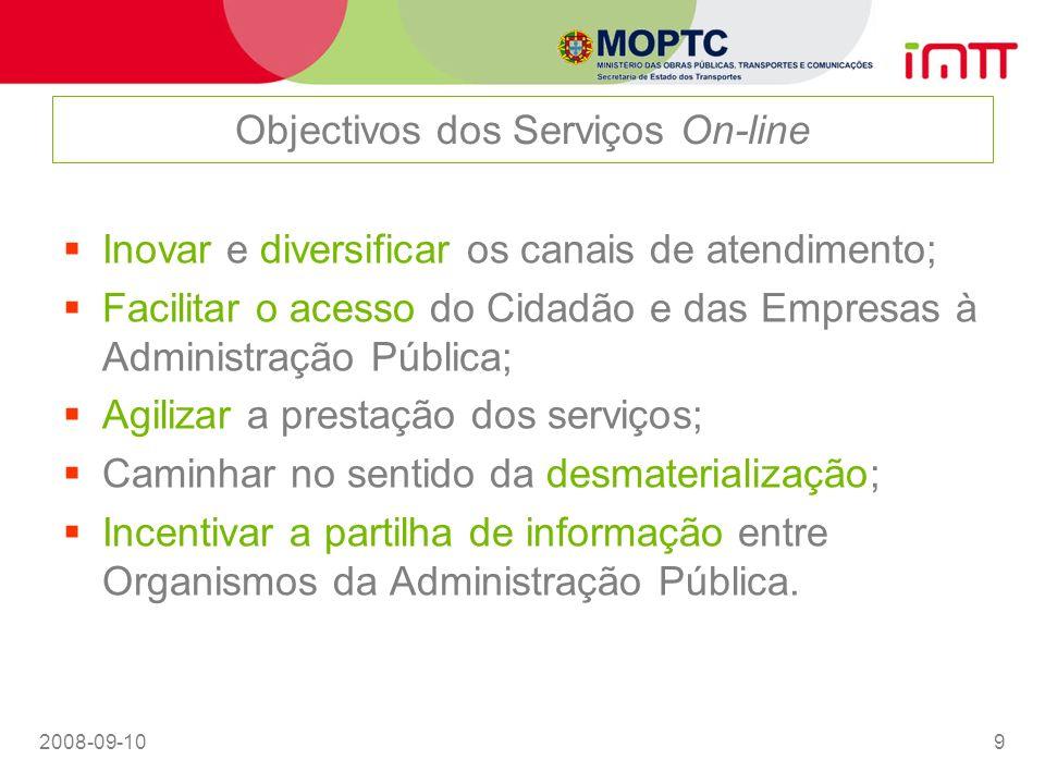 Objectivos dos Serviços On-line