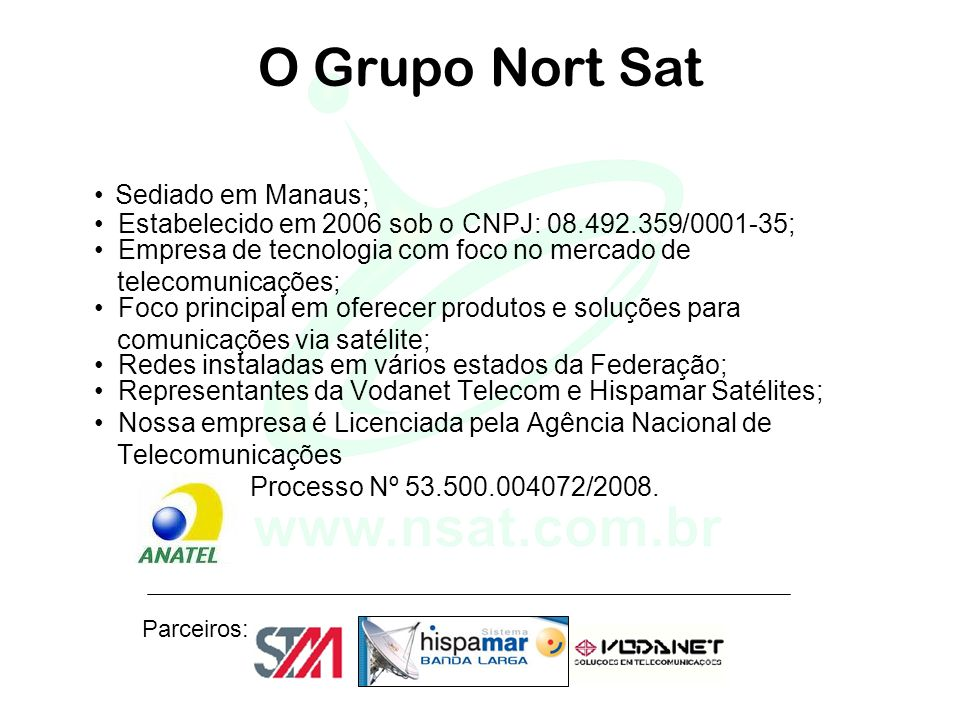 O Grupo Nort Sat • Sediado em Manaus; • Estabelecido em 2006 sob o CNPJ: 08.492.359/0001-35; • Empresa de tecnologia com foco no mercado de.