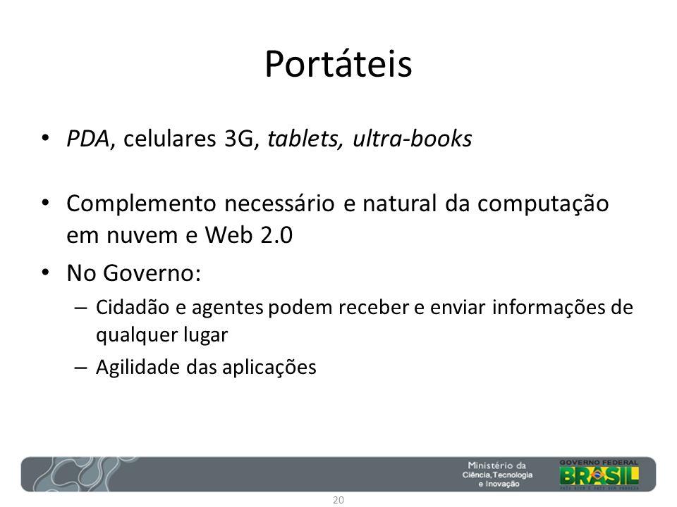Portáteis PDA, celulares 3G, tablets, ultra-books