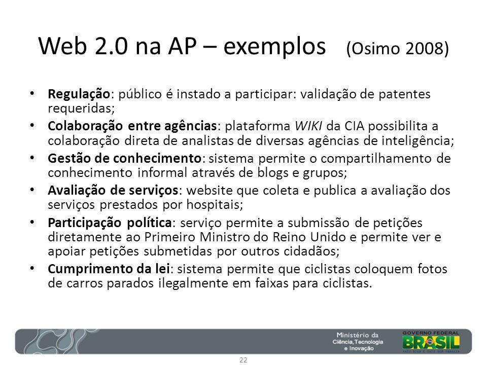 Web 2.0 na AP – exemplos (Osimo 2008)