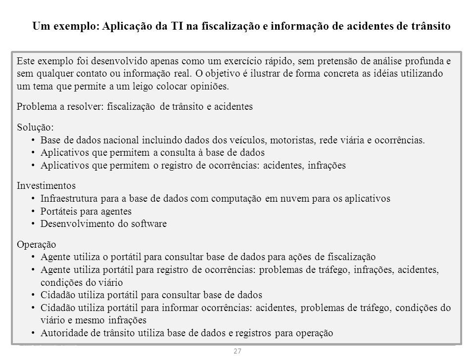Um exemplo: Aplicação da TI na fiscalização e informação de acidentes de trânsito