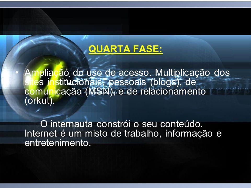QUARTA FASE: Ampliação do uso de acesso. Multiplicação dos sites institucionais, pessoais (blogs), de comunicação (MSN), e de relacionamento (orkut).