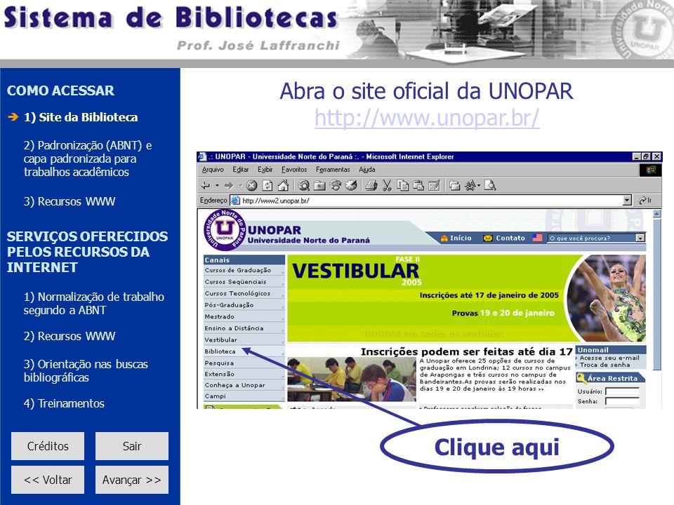 Abra o site oficial da UNOPAR