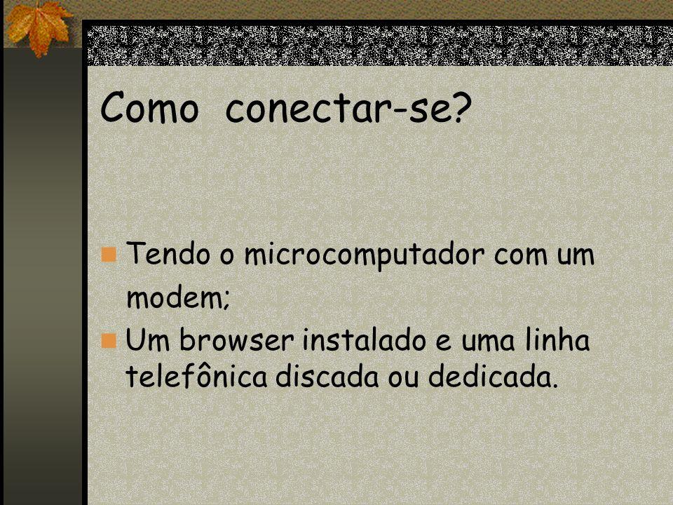 Como conectar-se Tendo o microcomputador com um modem;