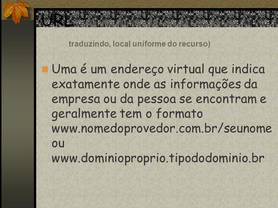 URL. (siginifica Uniform Resource Location, ou, traduzindo, local uniforme do recurso)