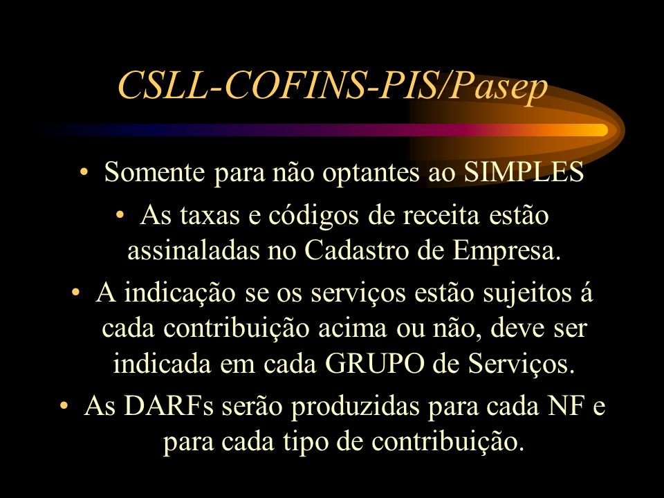 CSLL-COFINS-PIS/Pasep