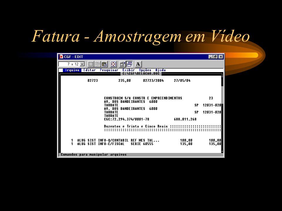 Fatura - Amostragem em Vídeo