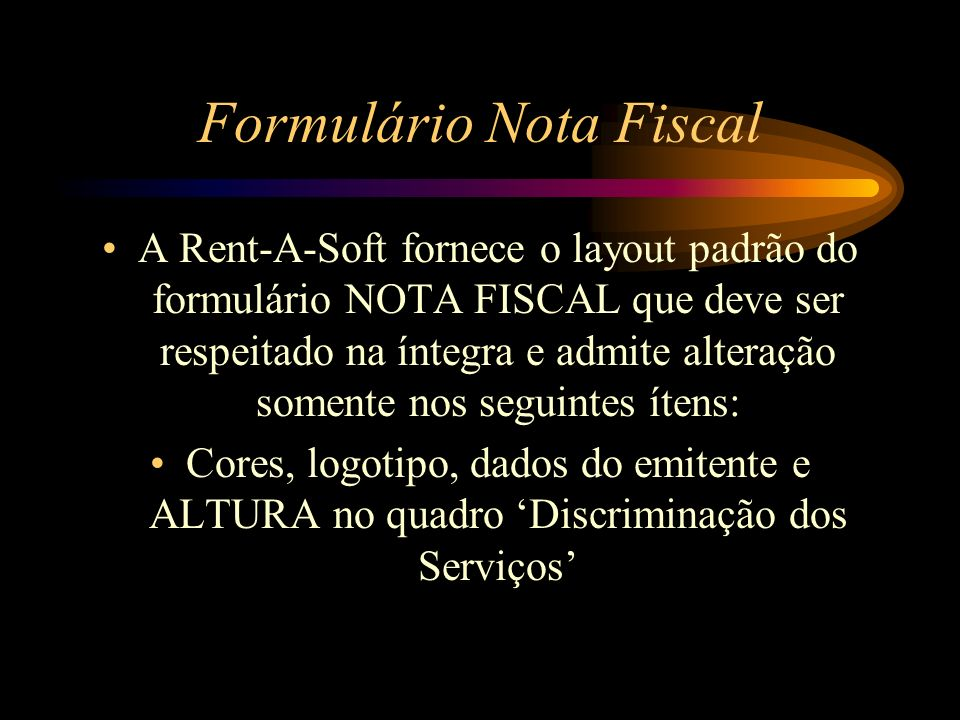 Formulário Nota Fiscal