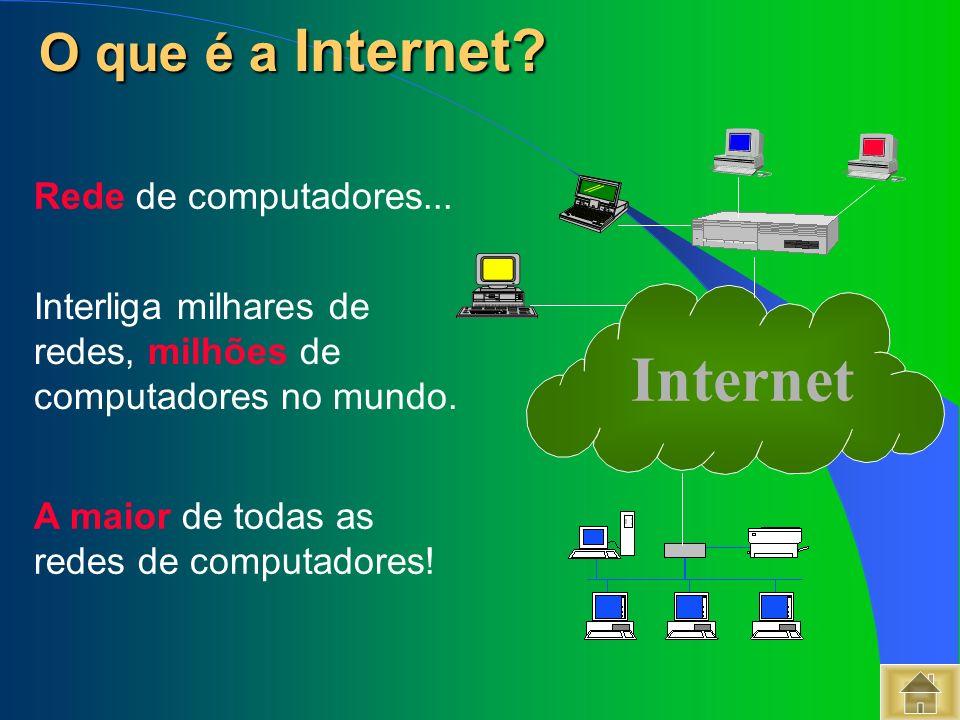 O que é a Internet Internet Rede de computadores...