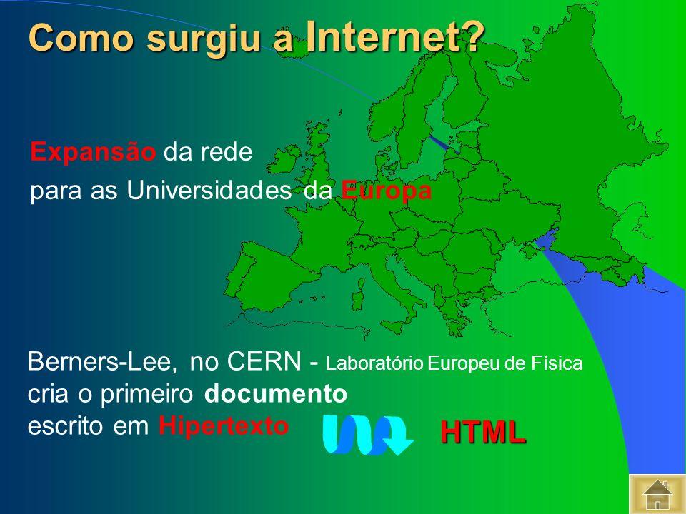 Como surgiu a Internet HTML Expansão da rede