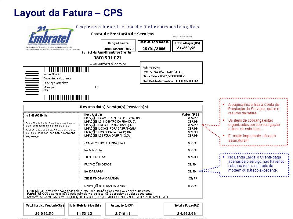 Layout da Fatura – CPS A página inicial traz a Conta de Prestação de Serviços, que é o resumo da fatura.