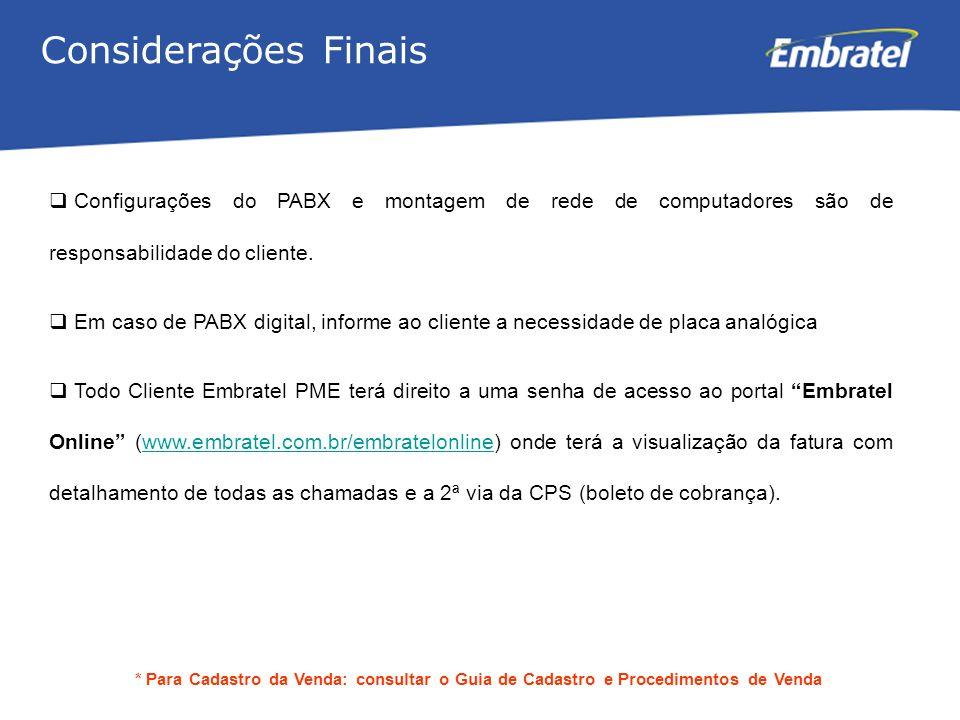Considerações Finais Configurações do PABX e montagem de rede de computadores são de responsabilidade do cliente.