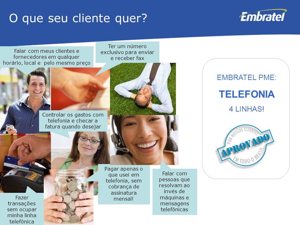 O que seu cliente quer TELEFONIA EMBRATEL PME: 4 LINHAS!