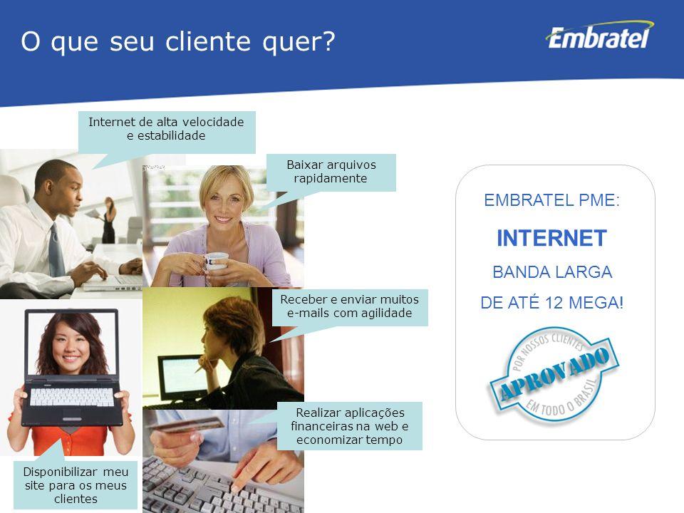 O que seu cliente quer INTERNET EMBRATEL PME: BANDA LARGA