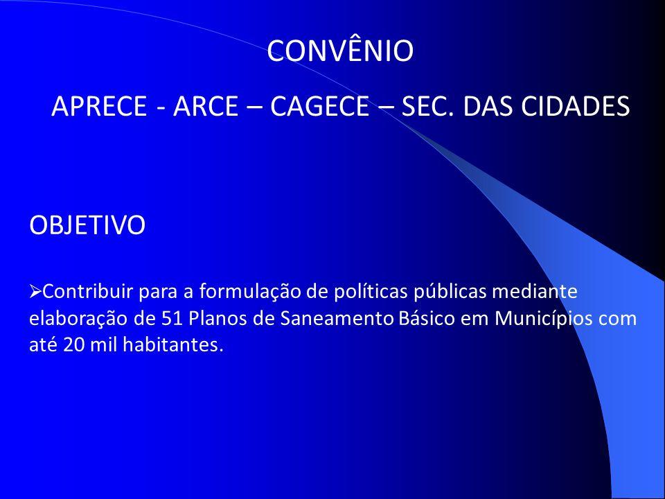 APRECE - ARCE – CAGECE – SEC. DAS CIDADES
