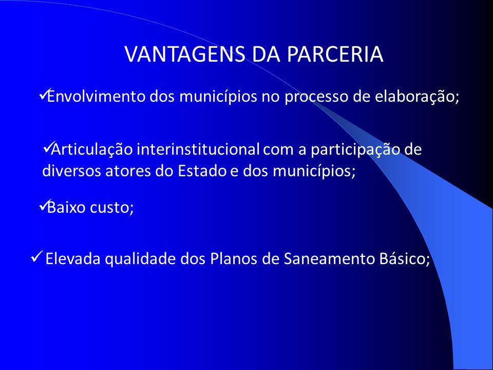 VANTAGENS DA PARCERIA Envolvimento dos municípios no processo de elaboração;