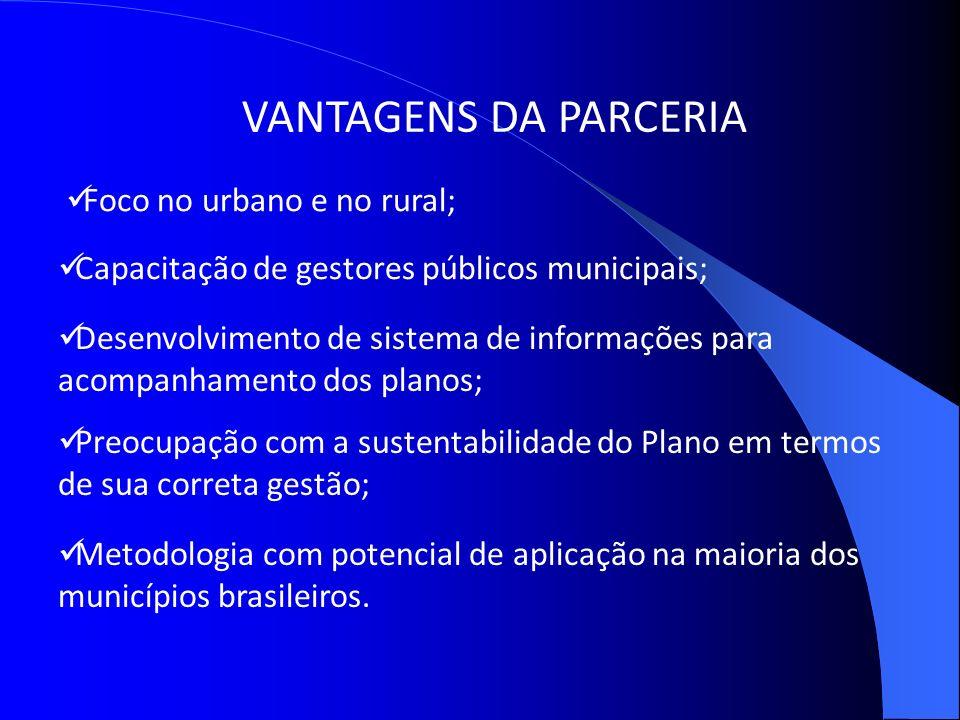 VANTAGENS DA PARCERIA Foco no urbano e no rural;
