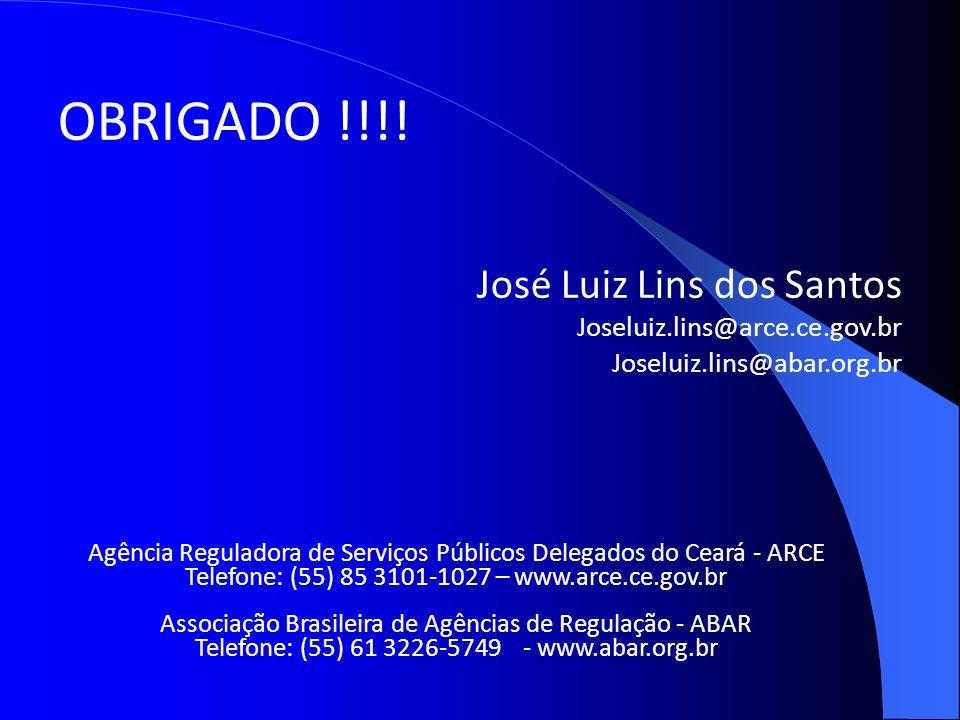 OBRIGADO !!!! José Luiz Lins dos Santos Joseluiz.lins@arce.ce.gov.br