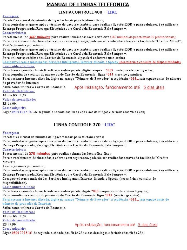 MANUAL DE LINHAS TELEFONICA