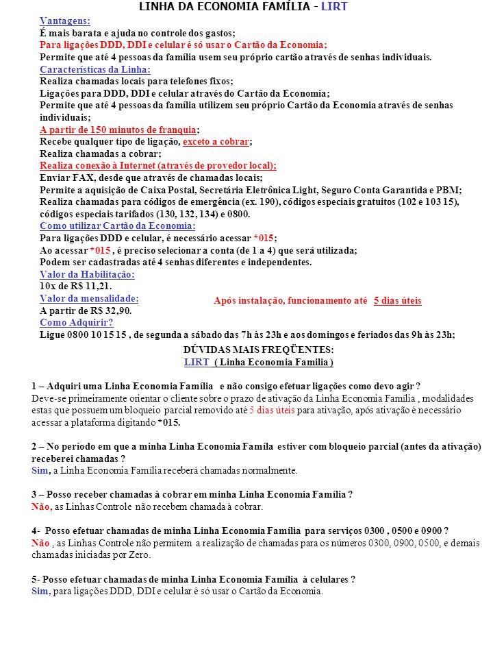 LINHA DA ECONOMIA FAMÍLIA - LIRT