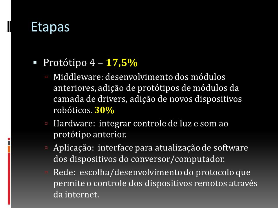 Etapas Protótipo 4 – 17,5%