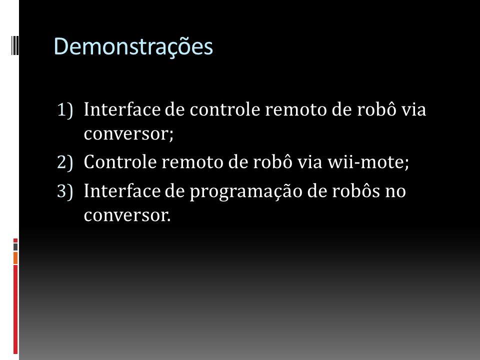 Demonstrações Interface de controle remoto de robô via conversor;