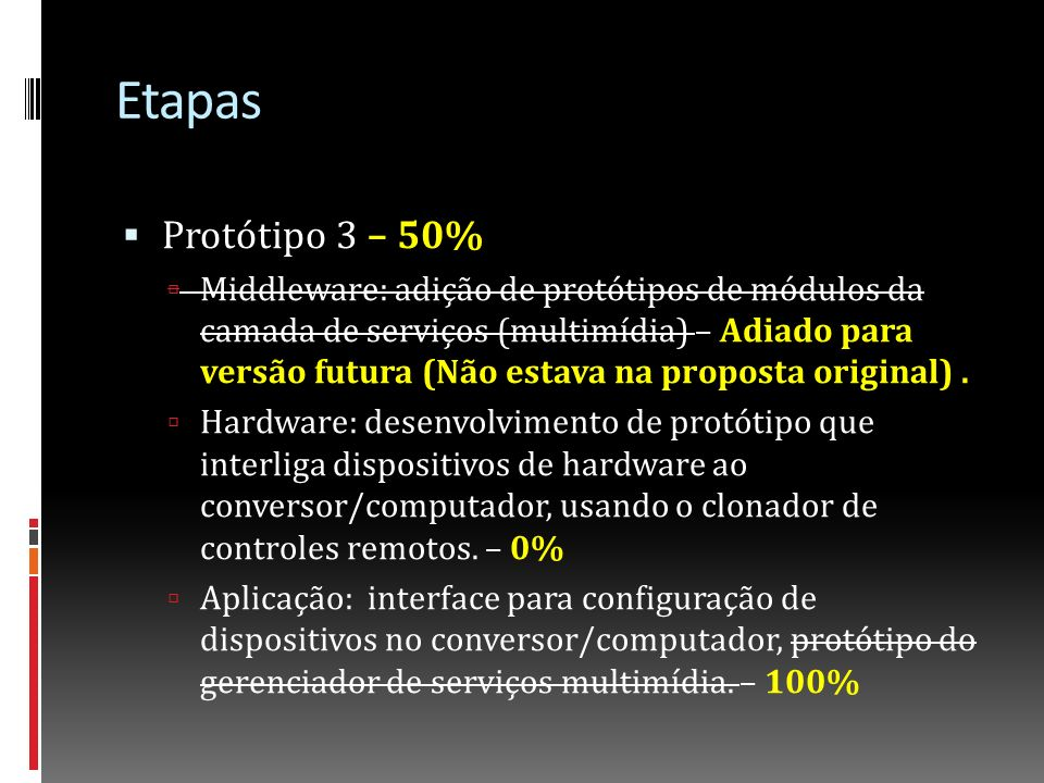 Etapas Protótipo 3 – 50%