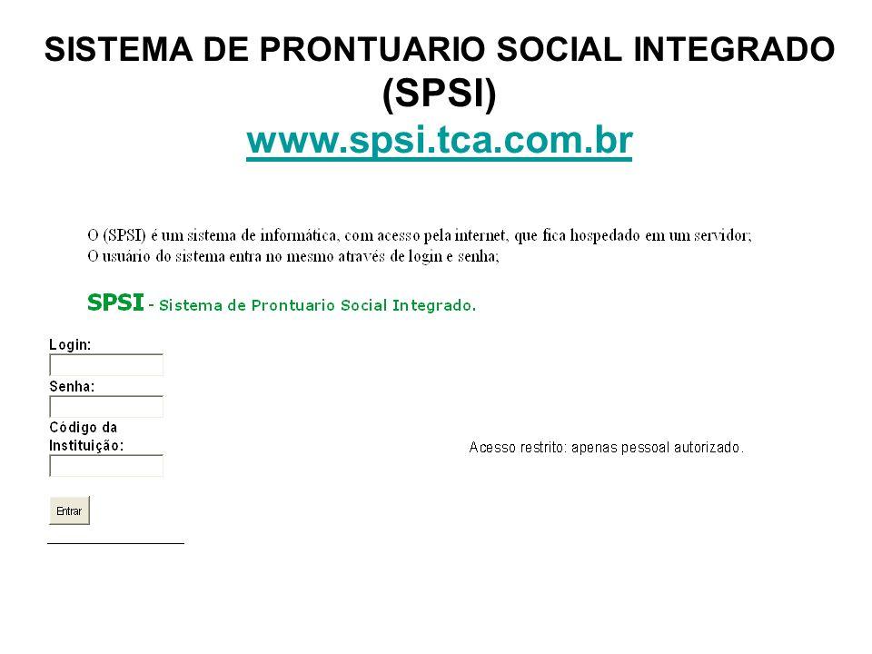 SISTEMA DE PRONTUARIO SOCIAL INTEGRADO (SPSI) www.spsi.tca.com.br