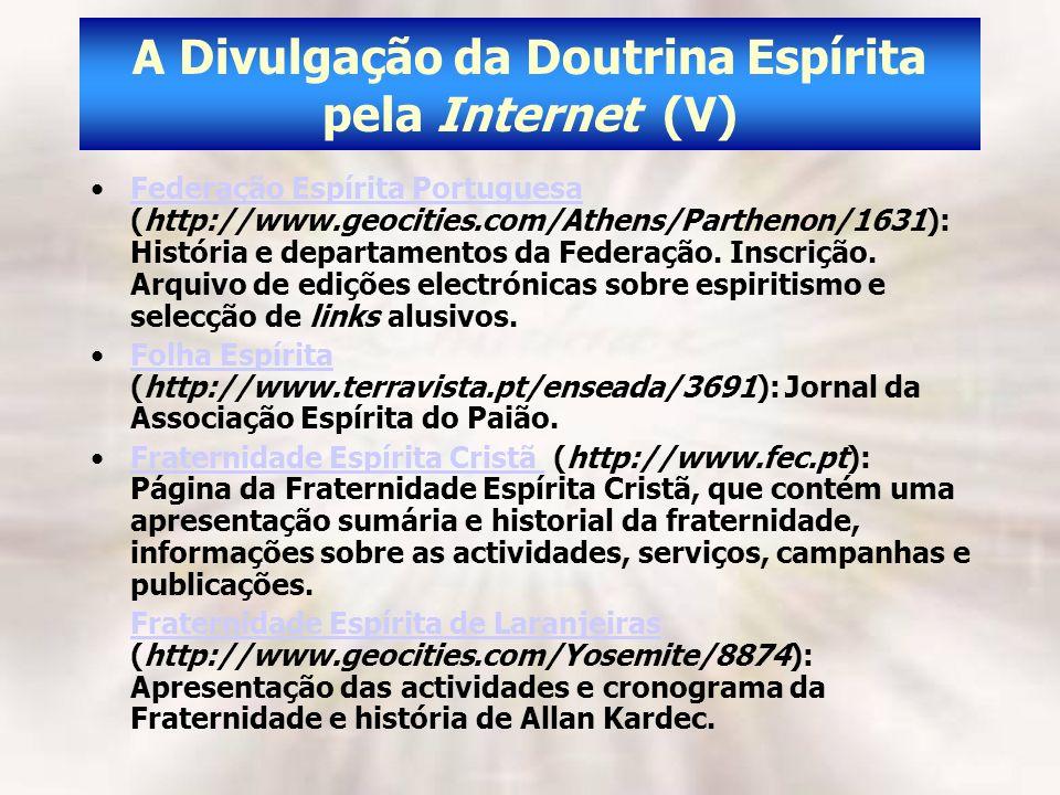 A Divulgação da Doutrina Espírita pela Internet (V)