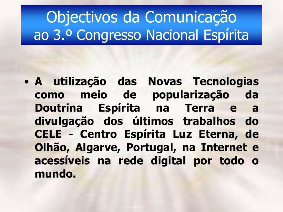 Objectivos da Comunicação ao 3.º Congresso Nacional Espírita