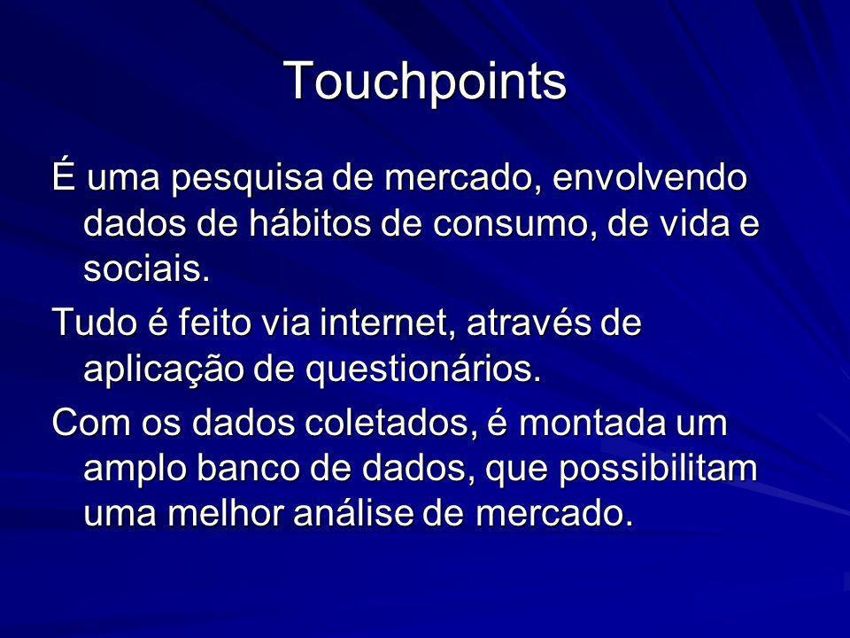 Touchpoints É uma pesquisa de mercado, envolvendo dados de hábitos de consumo, de vida e sociais.